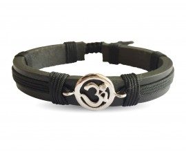 Auspicious Aum Bracelet in silver  for Boys On Leather & Nylon Cord