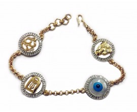 Evil Eye, Aum, Shiv Trishul and Lingam and Sai Ram all in one, gold bracelet with diamonds