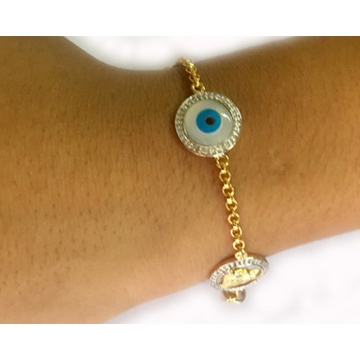 Evil Eye, Aum, Shiv Trishul and ShivLing and Sai Ram all in one, gold bracelet with diamonds