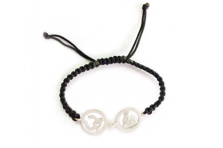 OM Sai silver bracelet on adjustable band