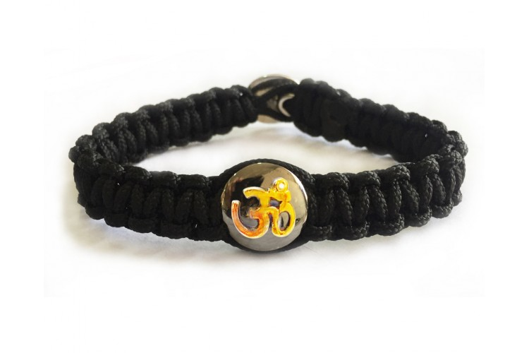 Gents Om Bracelet with Gold Om on Silver Base