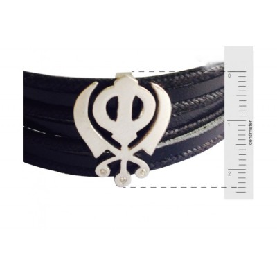 Gold Khanda Bracelet for Men on wide leather band