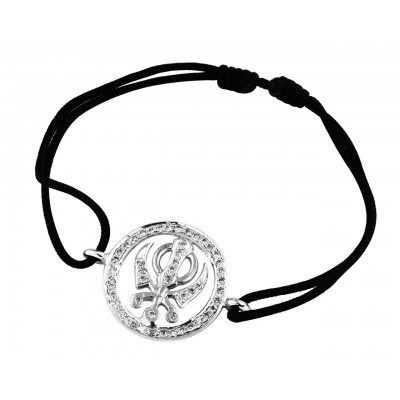 Khanda Full Diamond Bracelet in Silver