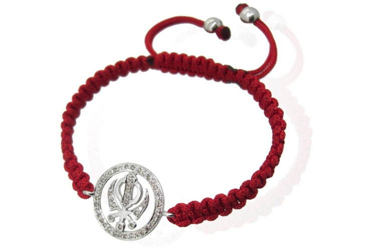 Khanda Bracelet in 92.5 Silver studded with Diamonds