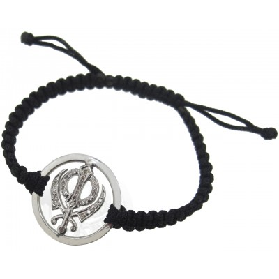 Khanda Inside Diamonds Bracelet in Silver