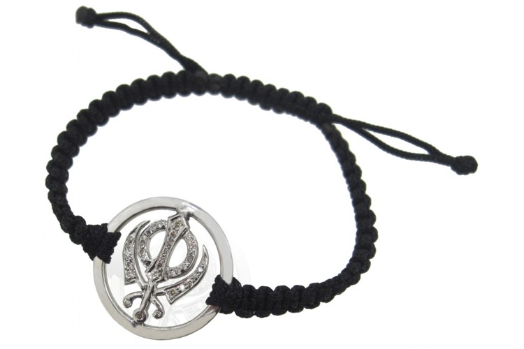 Khanda Bracelet in Silver with Plain Border & Studded with 34 Diamonds