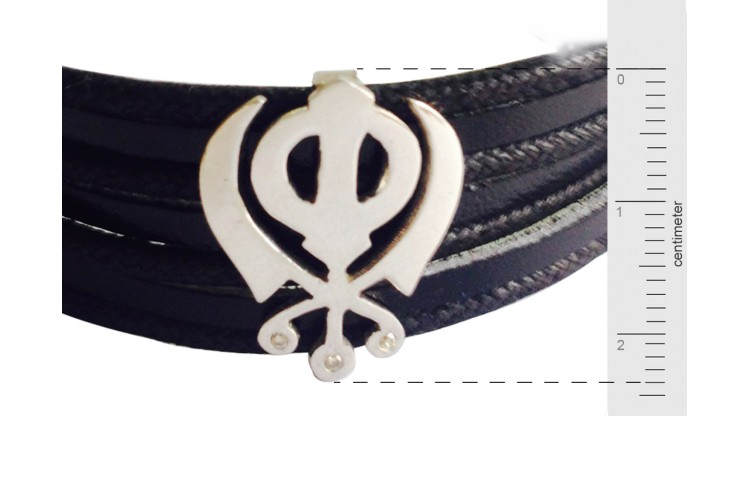Wide Leather Khanda Bracelet