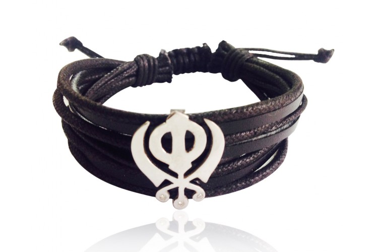Wide Leather & Cotton Cord Khanda Bracelet in 925 Silver with Diamonds