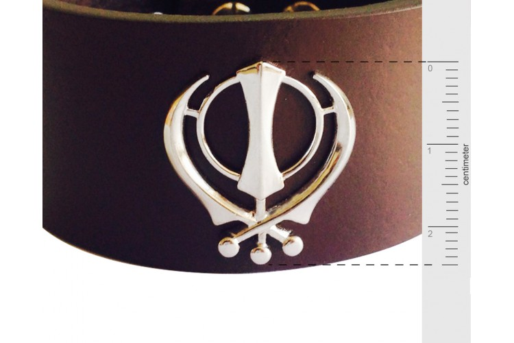 Khanda on wide Leather Band