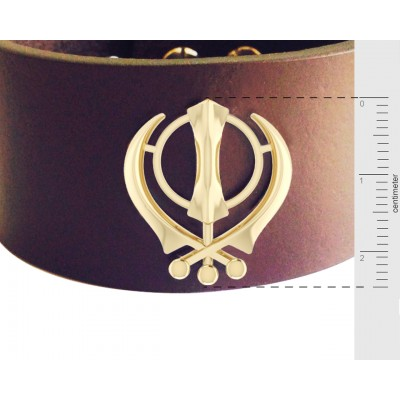 Gold Khanda on wide Leather Band