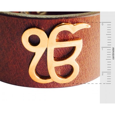 Gold Ik Onkar Leather Bracelet