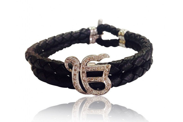 Ik onkar leather bracelet with diamonds
