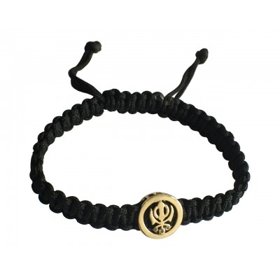 Khanda Gold Bracelet on Adjustable Thread