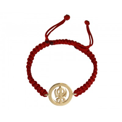 18k Gold Plated Khanda Rakhi in Sterling Silver On Size Adjustable Thread Bracelet