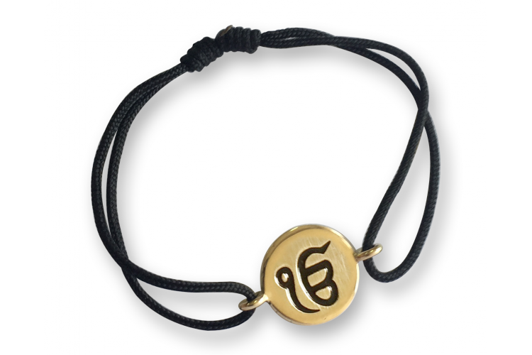 Authentic Ik Onkar Bracelet in 14k Gold for New Born Baby on adjustable black thread nazaria