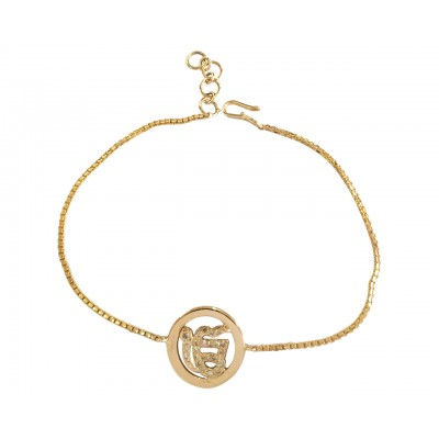 Ik Onkaar gold charm with diamonds on gold chain