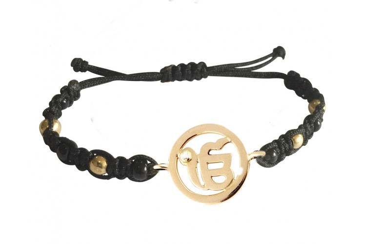 New Born Baby Ik onkaar Bracelet In Gold With Black & Gold Beads For Nazaria