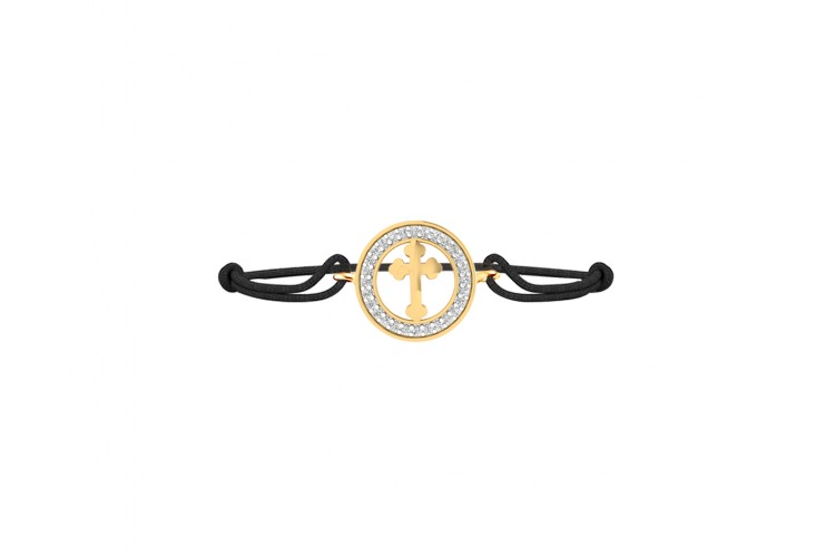 Cross Bracelet in gold with diamonds with 12mm charm