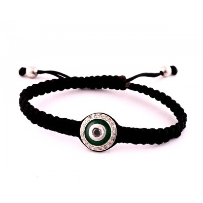 Evil Eye Bracelet in Silver with Diamonds