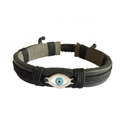 Evil Eye Silver Bracelet on Leather Band for Men with Adjustable Size
