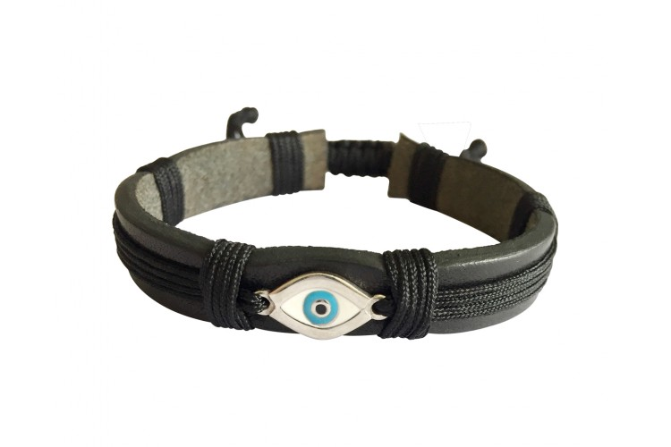 Evil Eye Silver Bracelet On Leather Band For Men With Adjule Size
