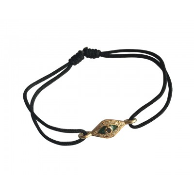 Evil Eye In Gold Bracelet with Enamel Work