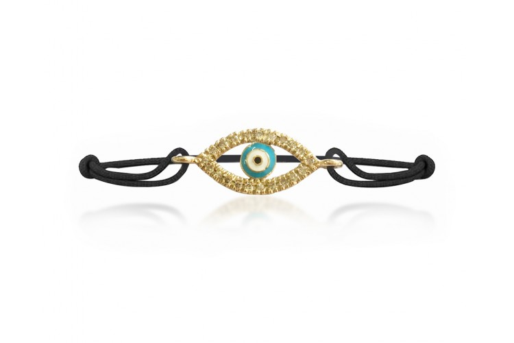 Evil Eye Gold Bracelet with diamonds