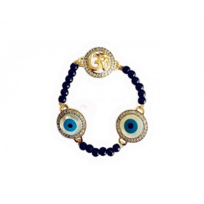 Evil eye and Aum 12mm charm bracelet on black beads for New born