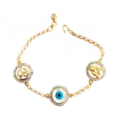 Om, Evil Eye and Sai Ram bracelet with 14mm charms in Gold