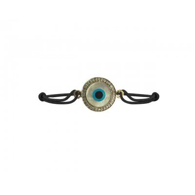 Evil eye Mother of  Pearl Bracelet on adjustable thread