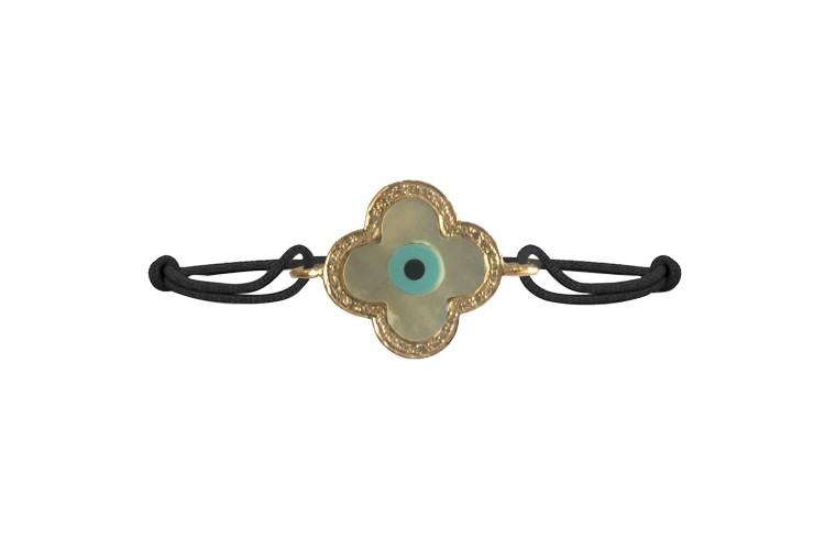 New Evil Eye Bracelet on mangalsutra chain in gold