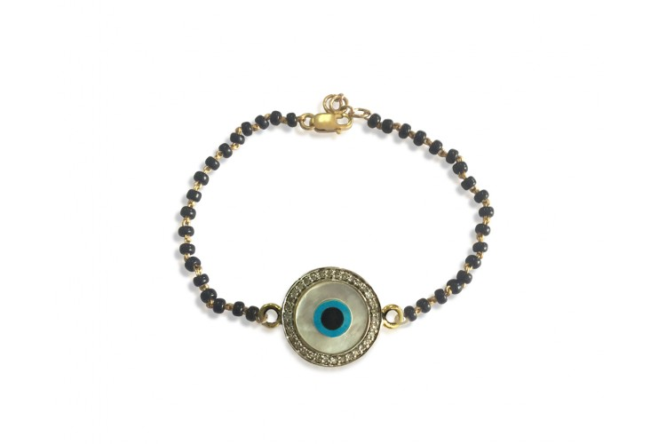 Evil eye bracelet on Mangalsutra chain in gold