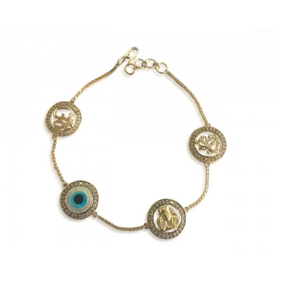 Evileye, Aum, Ganesh & Sairam Bracelet in gold & diamonds with 12mm charms