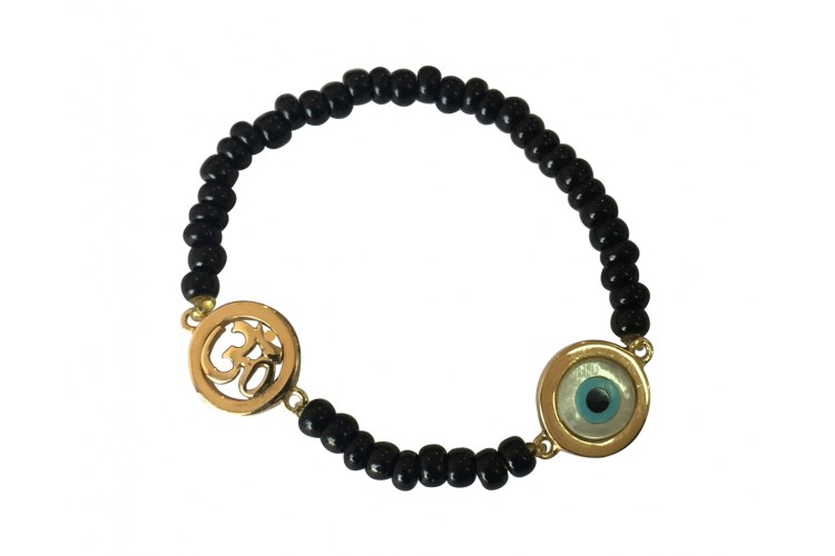 Om & Evil eye charm in gold on black beads for new born