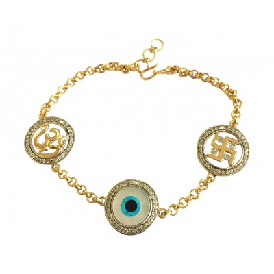 Auspicious Om Evil Eye and swastika bracelet in gold with diamonds
