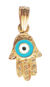 Evil Eye Gold Charm with Fatima's Hand