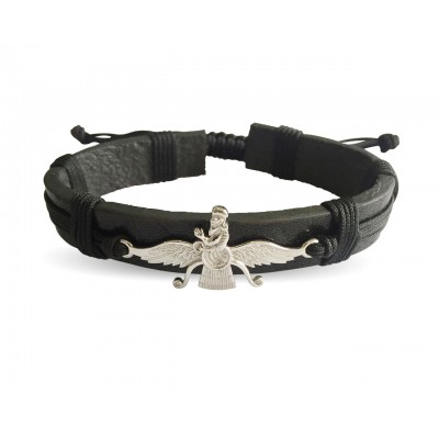 Faravahar Leather Bracelet in 925 silver
