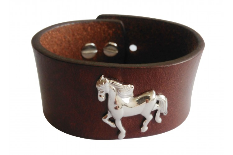 Silver Horse Leather Wrist Band