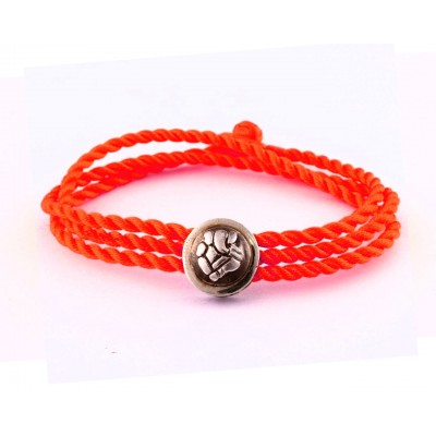 Ganesh Bracelet Cum Pendant in Silver on Size Adjustable Nylon Thread