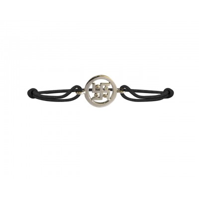 Swastika Bracelet in silver with diamonds on adjustable thread