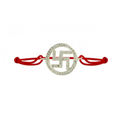 Swastik Diamond Bracelet in 925 Silver on Size Adjustable Nylon Thread