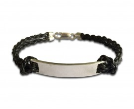 Leather Identity Tag Bracelet for Boys IN Sterling Silver with ENgravable plate