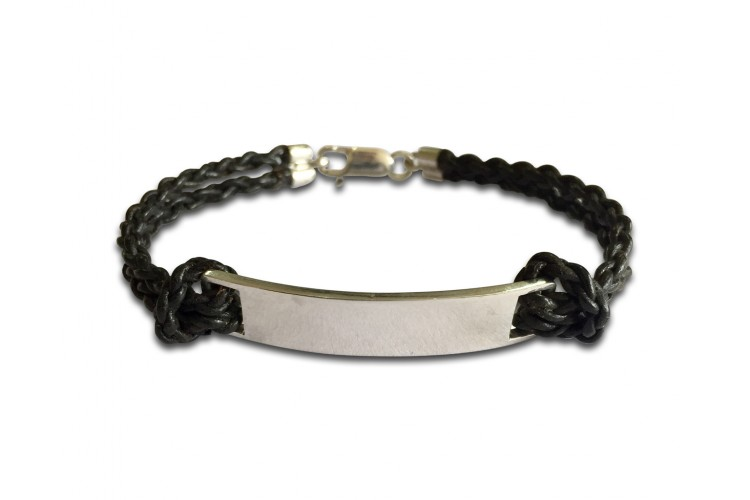 Leather Ideny Tag Bracelet For Boys In Sterling Silver With Engravable Plate