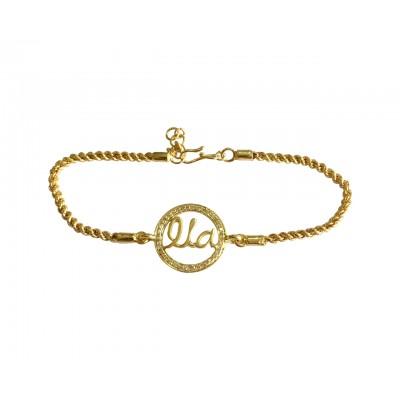 Identity Bracelet Name charm in Gold with Diamonds for Girls