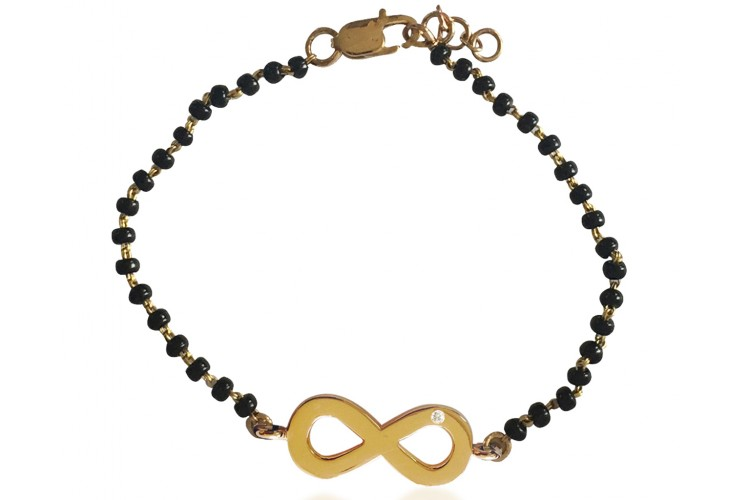 Infinity Gold Bracelet on Mangalsutra chain