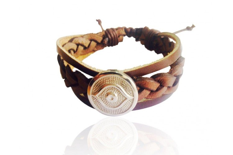 Evil Eye Leather Bracelet for Men