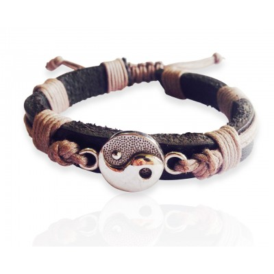 Yin Yang Silver Leather Bracelet for Men