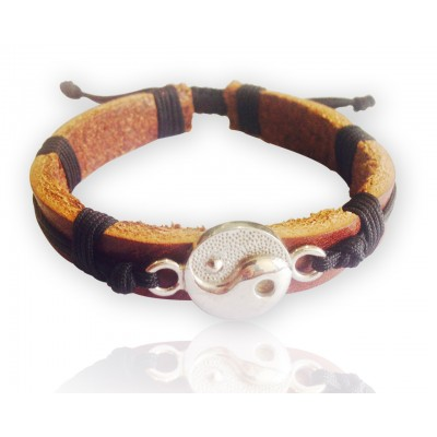 Yin yang Tan Leather Bracelet for Men