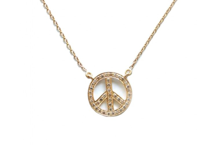 Peace Sign Pendant in Gold 18k