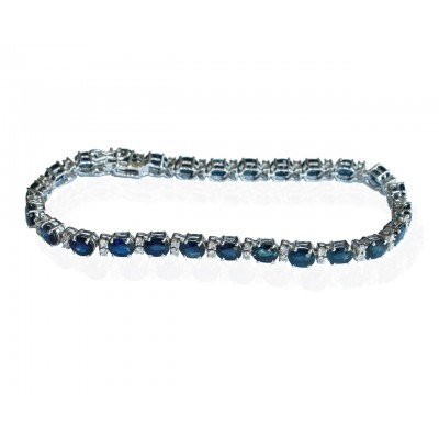 Tennis Bracelet with Sapphires and diamonds in white gold